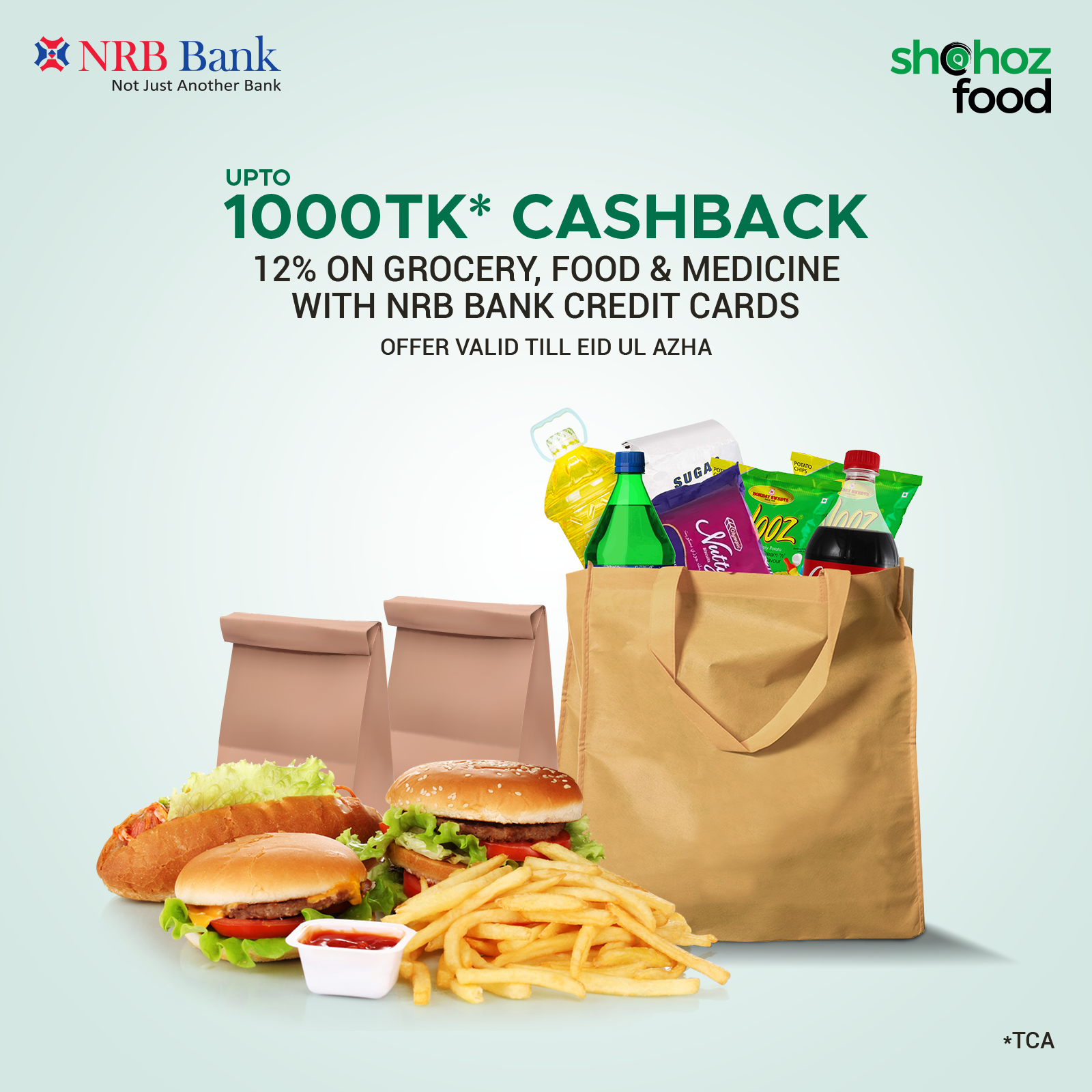 12%* CASHBACK UP TO TK 1000 ON NRB BANK CREDIT CARDS ON SHOHOZ FOOD