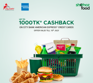 Up to 1000* Taka Cashback on The City Bank Credit Cards on Shohoz Food
