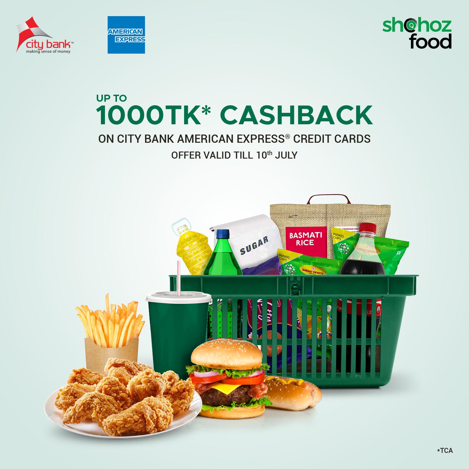 Up to 1000* Taka Cashback on The City Bank Credit Cards on Shohoz Food