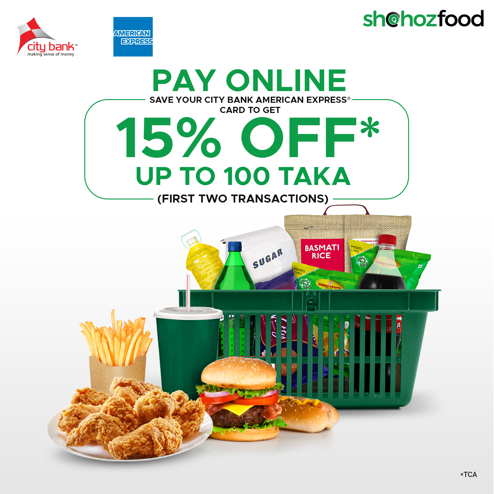 pay with city amex card and get 100tk discount